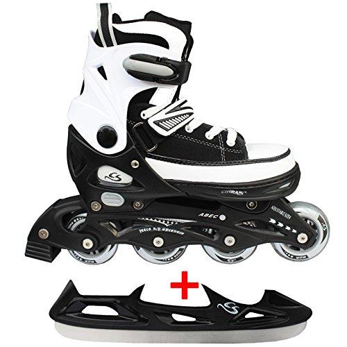 Cox Swain Sneak Kinder Inline Skates & Kinder Schlittschuh 2 in 1 - größenverstellbar ABEC5, schwarz, L...