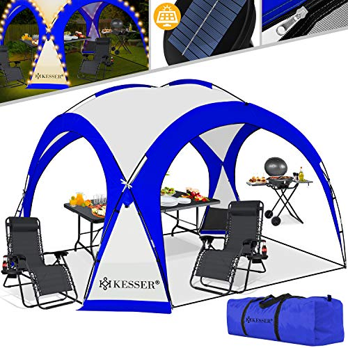 KESSER® LED Event Pavillon inkl. Solarmodul Designer Dome Gartenzelt 3,6 x 3,6m Camping Garten Partyzelt...