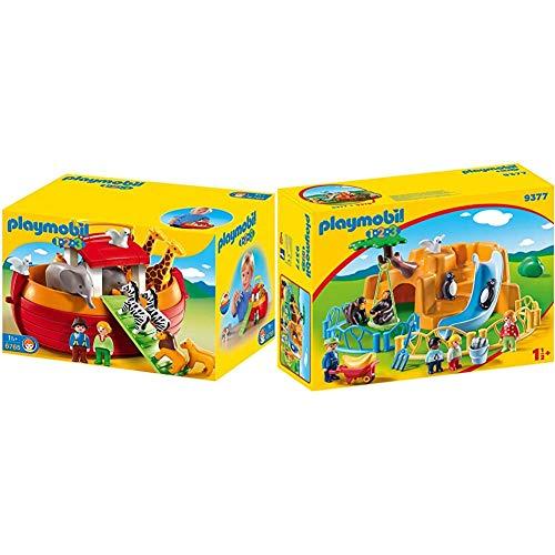 PLAYMOBIL 1.2.3 6765 Meine Mitnehm-Arche-Noah, Ab 18 Monaten & 9377 - Zoo Spiel