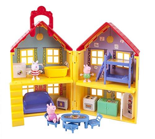 Jazwares 92620 - Peppa Wutz Peppa's Familienhaus, Spielset mit Zubehör, Spielhaus Set mit 3 beweglichen...