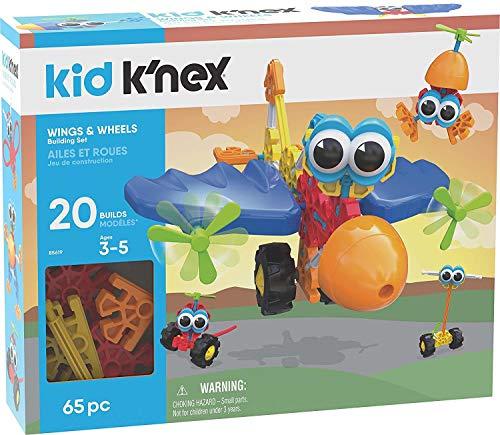 Kid K'Nex 85619 Wings & Wheels Building Set-65 Pieces-Ages 3+ -Preschool Educational Toy Flügel-und...
