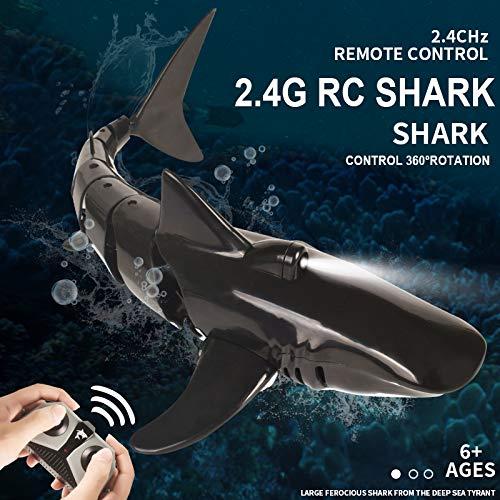 OUTTUO 2.4G RC Boot Fernbedienung Hai Spielzeug ferngesteuertes Boot Simulation, Unterwasser RC Elektro...