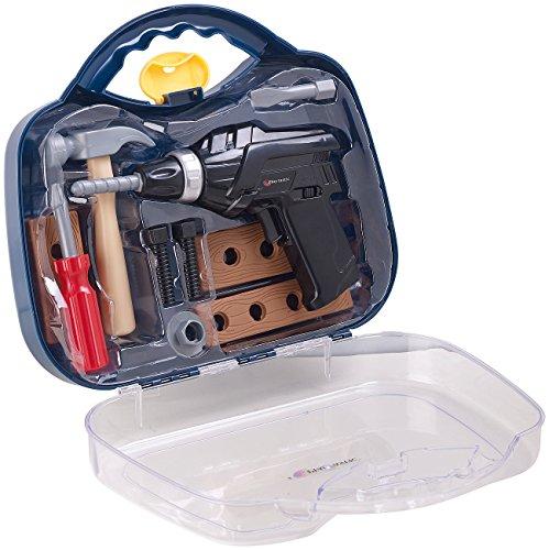 Playtastic Kinderwerkzeug: Kinder-Werkzeugkoffer, 11-teilig mit Batterie-Bohrmaschine & Zubehör...