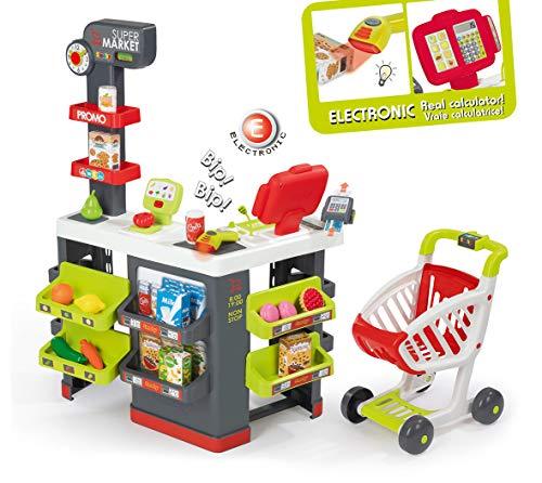 Smoby 350213 Supermarkt mit Einkaufswagen, Grau/Grün