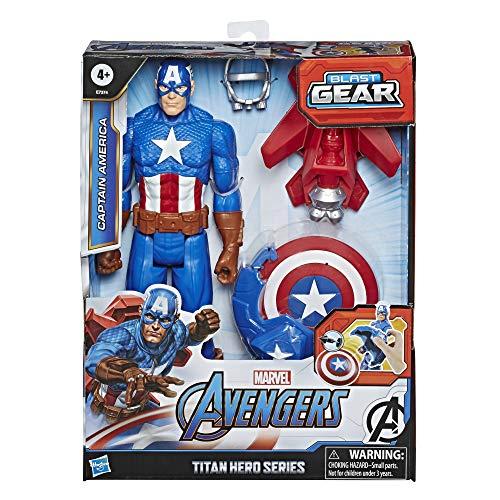Hasbro E7374 Avengers Titan Hero Serie Blast Gear Captain America, 30 cm große Figur, mit Starter, 2...