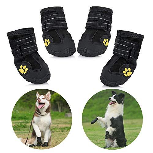Petacc wasserdichte Hundeschuhe, 4 Pcs Hundeschuhe Pfotenschutz, wasserdicht mit Anti-rutsch Sole passend...