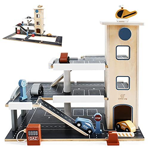 Little Log Parkgarage aus Holz Auto Parkhaus Garage mit Zubehör, Spielgarage mit Lift, Hubschrauber (70...