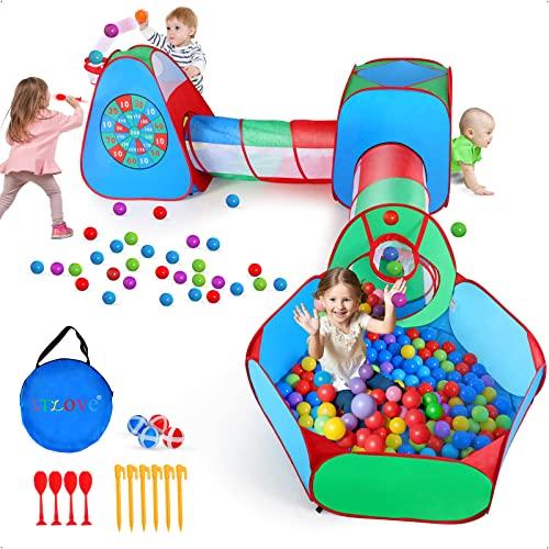 STLOVe Spielzelt Kinderzelt Babyzelt mit krabbeltunnel(Ohne Bälle) 5-Teiliges Spielhaus mit Zelt Tasche...