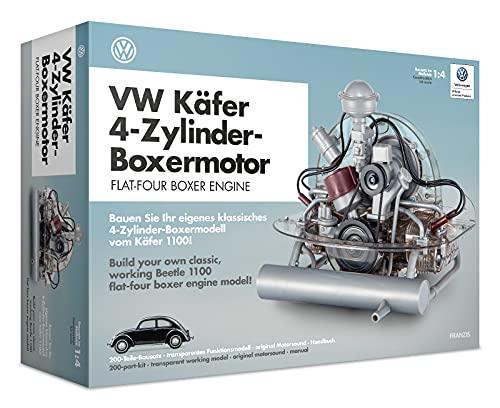 FRANZIS 67038 - Volkswagen Käfer Boxermotor, hochwertiger VW Modell-Bausatz des 4-Zylinder Motors,...