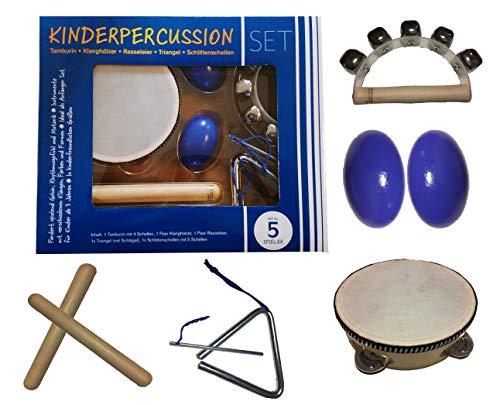 Kinder-Percussion-Set, Kinder Instrumente, 8-teilg aus Holz bestehend aus Tambourin, Triangel, Egg-Shaker...