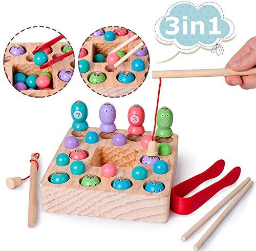 Rolimate Angelspiel Holz, Magnetische Spielzeuge Angelspiel mit 14-teilig Magnetische Holzpuzzle 2 Angeln...