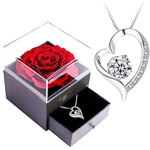 Infinity Rosen-SWEETIME Rote Rosen Geschenkbox mit 925er Sterling Silber Damen Halskette,Für Immer Rose...