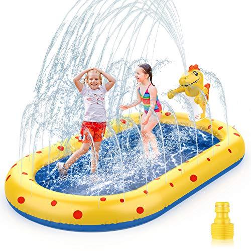 AOLUXLM Planschbecken für Kinder Baby Hunde Aufblasbarer Pool Sprinkler Splash kinderplanschbecken...