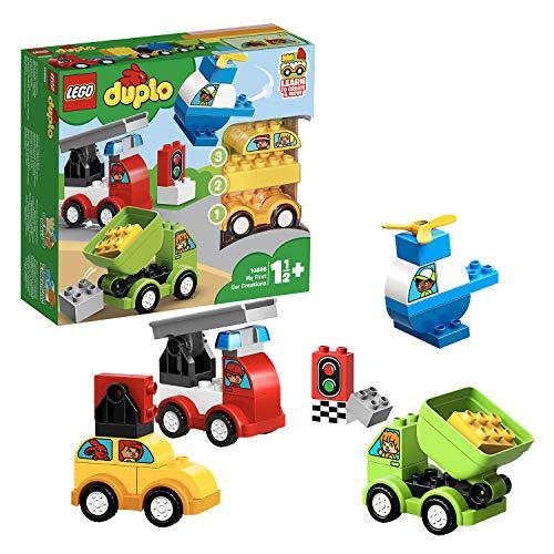 LEGO 10886 DUPLO Meine ersten Fahrzeuge, Bauset mit 4 baubaren Fahrzeugen für Kinder im Alter von 1,5...