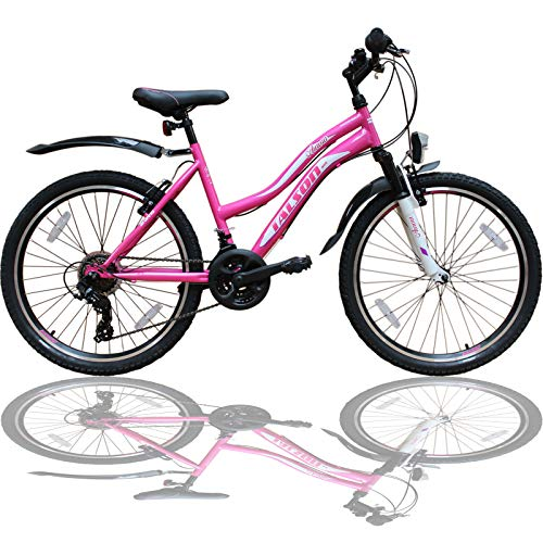 Talson 24 Zoll Mädchen Fahrrad MTB mit Beleuchtung und 21-Gang Kinderfahrrad Rosa