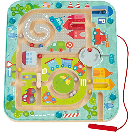 Haba 301056 - Magnetspiel Stadtlabyrinth, pädagogisches Holzspielzeug für Kinder ab 2 Jahren, schult...