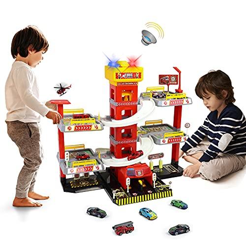 Parkgarage Cars Spielzeug Parkhaus für Kinder 69 Stück+ Spielzeugset Feuerwehrparkplatz mit...