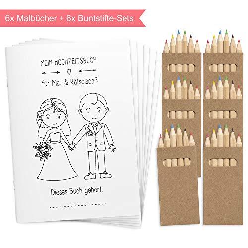 Wedding Shop Love Grows 6 Stück Hochzeitsmalbuch mit Buntstifte-Set / 24-seitiges Malbuch zur Hochzeit...