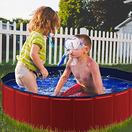YAOBLUESEA Hunde Planschbecken, 120x30CM PVC Hundepool Doggy Pool Faltbarer Badewanne Pool-Mittel/Rot