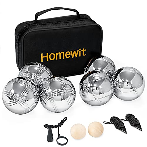 6 Boule Set mit 2 Holzkugeln, 2 Abstandsmesser, 1 Boules-Kugel Magnetvorrichtung & Luxuriöser...