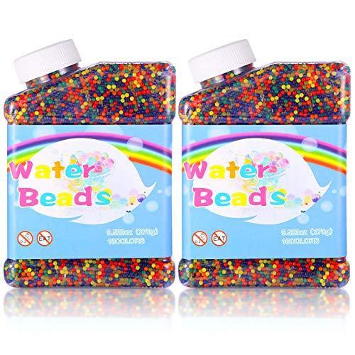 Aokyom® 2 Flaschen Gel Perlen Bunte,10.0000 Stücke Wasserperlen WassergelKugeln Perlen Mix Bunt...