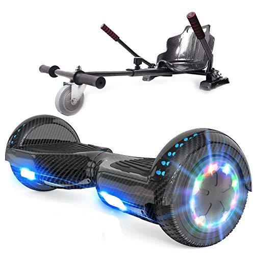 RCB Hoverboard mit Sitz und Hoverkart Set 6,5 Zoll Elektro Skateboard für Kinder Elektroroller mit...