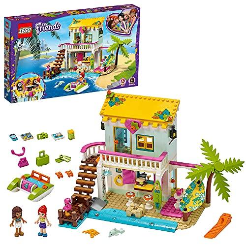 LEGO 41428 Friends Strandhaus mit Tretboot Set, Puppenhaus mit Mini Puppen Andrea & Mia und 2...
