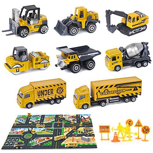 Dreamon Baustelle Lastwagen Legierung Mini Autos Set für Kinder 3 Jahre, Geschenk Set 8-teilig mit Frei...