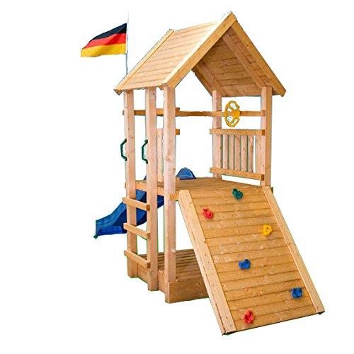 Kletterturm Holzturm Spielturm Kinder Sandkasten Rutsche - (3368)