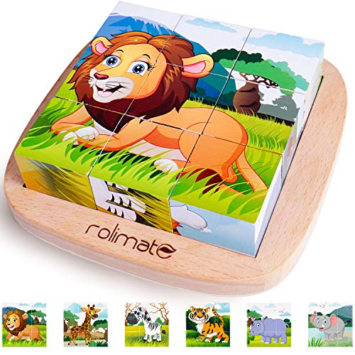 Rolimate Bilderwürfel Holz, Holzpuzzle 3D Würfelpuzzle Puzzlespiele 6 in 1 Tier-Motive mit 9 Würfel...
