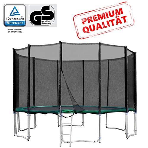 Baunsal GmbH & Co.KG Gartentrampolin Trampolin 427 bis 430 cm in grün mit Sicherheitsnetz und...