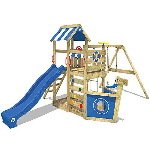 WICKEY Spielturm Klettergerüst SeaFlyer mit Schaukel & blauer Rutsche, Baumhaus mit Sandkasten,...