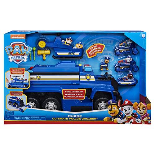 PAW Patrol 6058329 - 5-in-1-Polizeifahrzeug von Chase - 4 Mini Fahrzeuge plus Polizeicruiser plus Chase...
