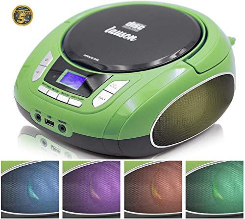 Lauson NXT964 Tragbarer CD-Player, LED-Discolichter, CD-Radio, Boombox, CD Player für Kinder,...