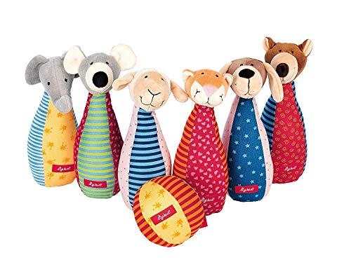 Sigikid 49520 - Mädchen und Jungen Kegelspiel mit 6 Tierfiguren, Mehrfarbig