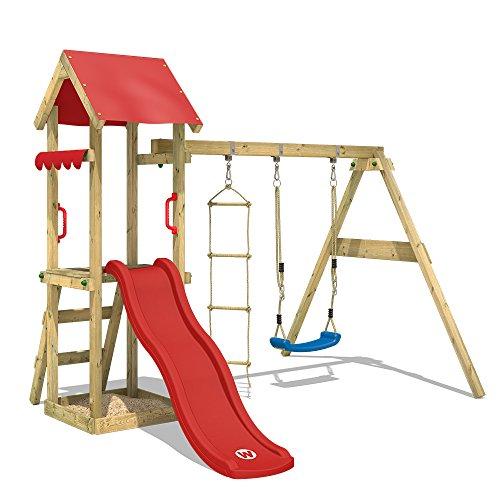 WICKEY Spielturm Klettergerüst TinyCabin mit Schaukel & roter Rutsche, Kletterturm mit Sandkasten,...
