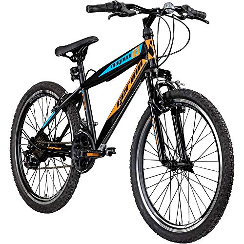 Jugendfahrrad 24 Zoll Mountainbike Fahrrad 24' Geroni Magnum Hardtai MTB Jugend (schwarz/orange/blau, 36...