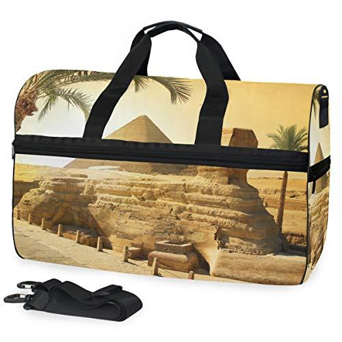All3DPrint Ägyptische Sphinx und Pyramiden-Reisetasche, Fitness-Beutel mit Schuhfach