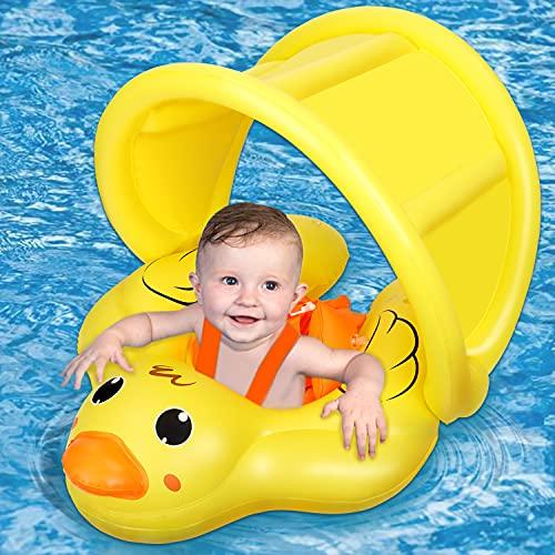 Jojoin Baby Schwimmring, Aufblasbare Baby Schwimmhilfe, Schwimmen Float Ring mit abnehmbarem Sonnendach...