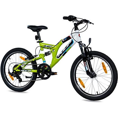 KCP 20 Zoll Mountainbike Kinderfahrrad - JETT FSF weiss grün - Vollfederung Kinder Fahrrad für Jungen...