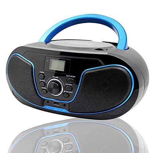 LONPOO CD Player Tragbar Radio Boombox mit Bluetooth, UKW-Radio, USB Eingang & AUX & Kopfhörern Ports, 2...
