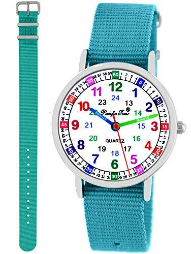 Pacific Time Kinder Armbanduhr Mädchen Jungen Lernuhr 2 Wechsel Textilarmband türkis hellblau analog...