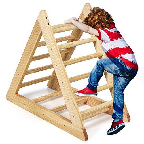 COSTWAY Kletterdreieck aus Holz, Klettergerüst für Kleinkinder ab 3 Jahren, zur Entwicklung...