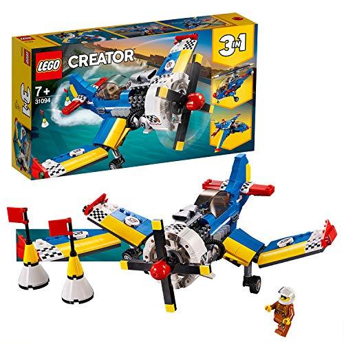 LEGO 31094 Creator Rennflugzeug, Hubschrauber oder Düsenjäger, 3-in-1 Bauset, Flugzeugsspielset mit...