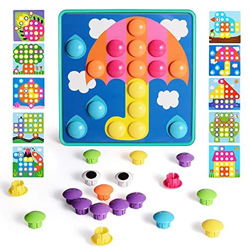 Mosaik Steckspiel mit 46 Steckperlen und 10 Bunten Steckmosaik für Kinder ab 2 Jahre Steckspielzeug...