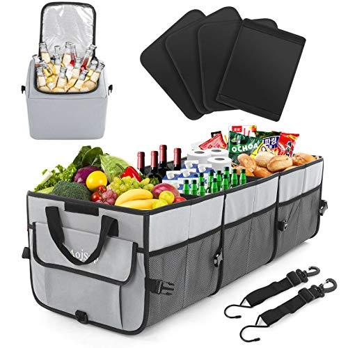 AojSup Extra großer Kofferraum Organizer 92L mit Deckel und Kühltasche, Faltbare Auto kofferraumtasche...