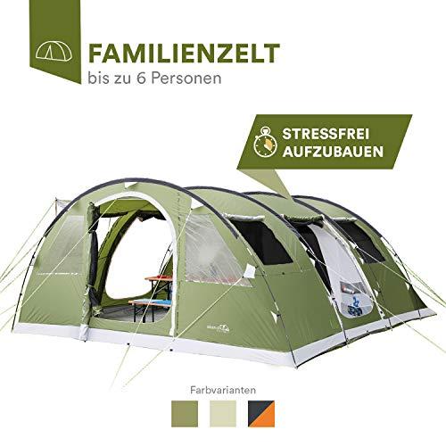 skandika Gotland 6 Personen Familienzelt mit eingenähtem Boden und 5.000 mm Wassersäule (grün)