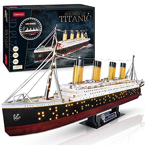 CubicFun 3D Puzzle LED 88 cm Titanic - Titanic Modell Boots Spielzeug für Erwachsene und Jugendliche,...