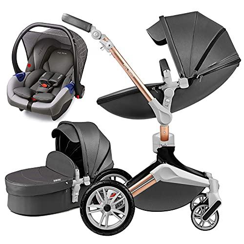 Hot Mom 3 in 1 Kombikinderwagen mit Buggy und Babywanne 360 Drehbar Kinderwagen, Hohe Landschaft PU-Leder...