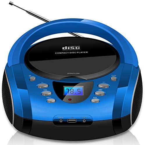 Tragbare Boombox | CD/CD-R | USB | FM Radio | AUX-In | Kopfhöreranschluss | CD-Player | Kinder Radio |...